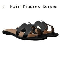 HERMES Open Toe Casual Style Plain Leather Shoes