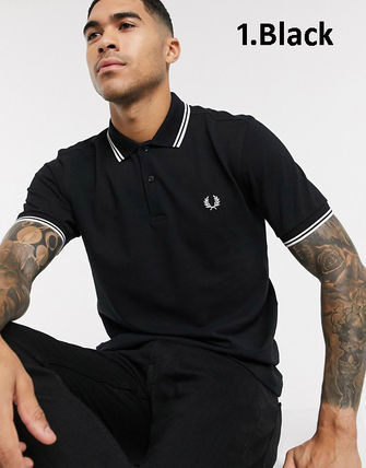 FRED PERRY Logo Pullovers Plain Cotton Short Sleeves Polos
