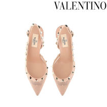 VALENTINO VRING Studded Leather Pin Heels Party Style Elegant Style Logo