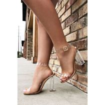 FASHION NOVA Casual Style Faux Fur Plain Elegant Style Heeled Sandals