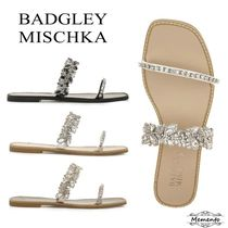 Badgley Mischka Open Toe Square Toe Rubber Sole With Jewels Elegant Style