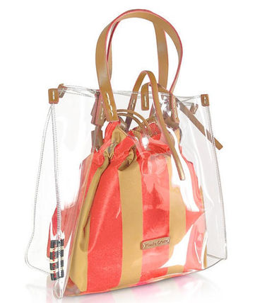Stripes Casual Style Crystal Clear Bags PVC Clothing