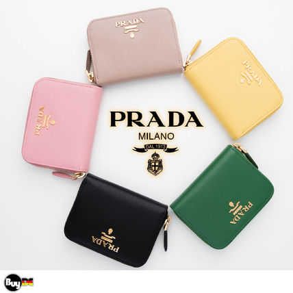 PRADA Leather Folding Wallet Coin Cases