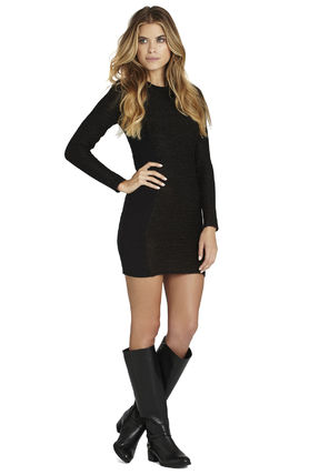 Tight Nylon U-Neck Long Sleeves Plain Dresses