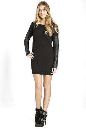 Short Blended Fabrics U-Neck Long Sleeves Plain Dresses
