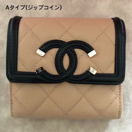 CHANEL MATELASSE Calfskin Folding Wallet Small Wallet Folding Wallets