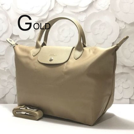 Nylon 2WAY Plain Crossbody Handbags