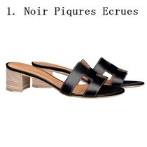 HERMES Open Toe Casual Style Leather Shoes