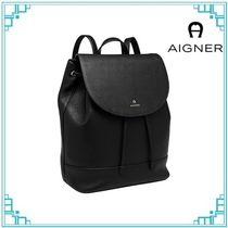 AIGNER Casual Style A4 Leather Formal Style  Bridal Logo Backpacks