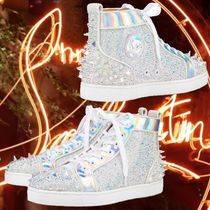 Christian Louboutin Blended Fabrics Studded Street Style Leather Logo Sneakers