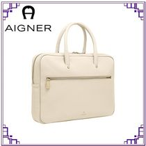 AIGNER Casual Style A4 Leather Office Style Elegant Style