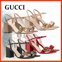 GUCCI GG Marmont Open Toe Casual Style Leather Block Heels Party Style