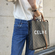 CELINE Cabas Monogram Casual Style Blended Fabrics A4 2WAY Leather