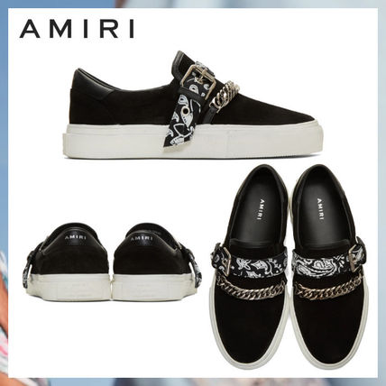 AMIRI Logo Suede Chain Plain Street Style Loafers & Slip-ons