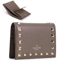 VALENTINO Plain Leather Small Wallet Folding Wallets
