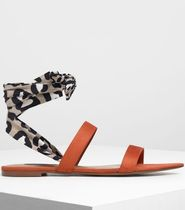Charles&Keith Leopard Patterns Open Toe Lace-up Casual Style Faux Fur