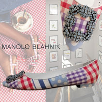 Manolo Blahnik Hangisi Gingham Stripes Dots Casual Style Leather Party Style
