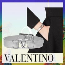 VALENTINO VLOGO Casual Style Blended Fabrics Leather Party Style Brass