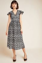 Anthropologie Flower Patterns Casual Style A-line Blended Fabrics V-Neck