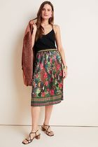 Anthropologie Flared Skirts Flower Patterns Casual Style Blended Fabrics