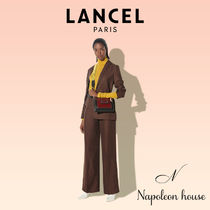 LANCEL Casual Style Studded Plain Leather Party Style Halloween