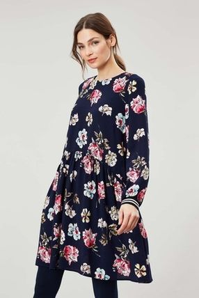 Flower Patterns Casual Style Flared Long Sleeves Medium