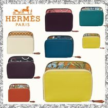 HERMES Silk In Leather Folding Wallet Small Wallet Folding Wallets