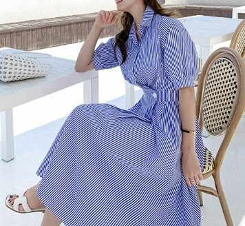 Stripes Casual Style A-line Long Shirt Dresses Elegant Style