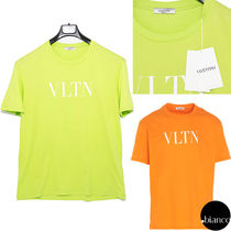 VALENTINO VLTN Crew Neck Cotton Short Sleeves Logo Neon Color Luxury