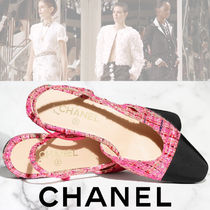 CHANEL Tweed Blended Fabrics Plain Logo Shoes