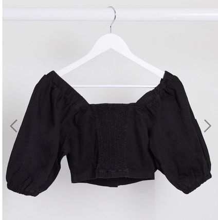 Casual Style Denim Cotton Office Style Puff Sleeves