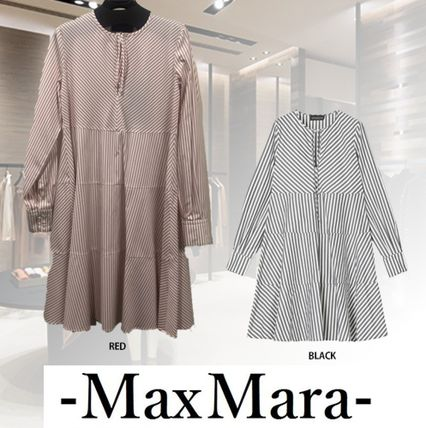 Stripes Casual Style A-line Long Sleeves Cotton Medium