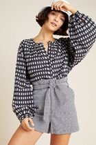 Anthropologie Short Gingham Casual Style Blended Fabrics Street Style