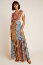Anthropologie Flower Patterns Casual Style Maxi Blended Fabrics Flared