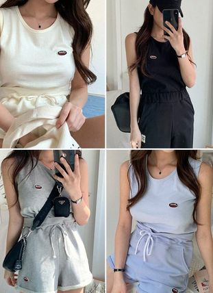 Sleeveless Street Style Plain Cotton Logo Dresses