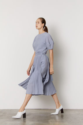 Wrap Dresses Office Style Elegant Style Puff Sleeves