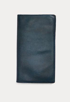 Street Style Plain Leather Folding Wallet Logo
