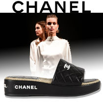CHANEL Tweed Logo Sandals