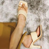 Casual Style Plain Pin Heels Mules Heeled Sandals