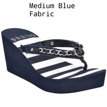 Guess Stripes Open Toe Platform Round Toe Casual Style