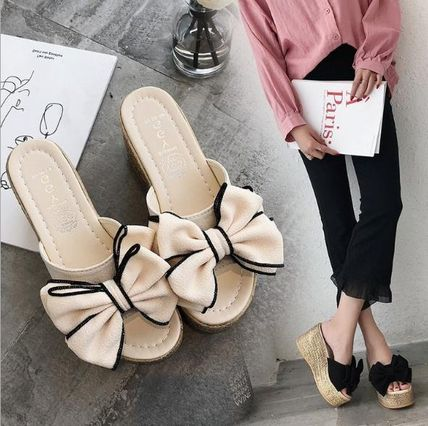 Open Toe Casual Style Plain Mules Heeled Sandals