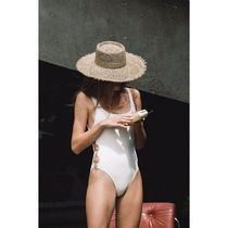 lack of color Unisex Straw Boaters Straw Hats
