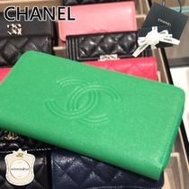 CHANEL Plain Leather Long Wallet  Logo Long Wallets