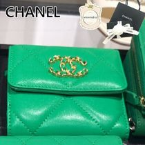 CHANEL Plain Leather Folding Wallet Logo Folding Wallets