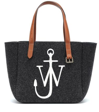 Casual Style Leather Logo Totes