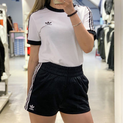 adidas Short Stripes Casual Style Unisex Blended Fabrics