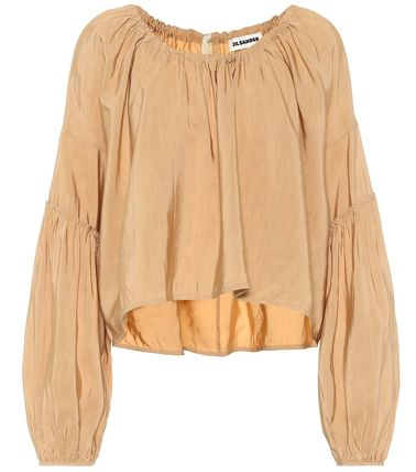 Short Casual Style Linen Long Sleeves Plain Oversized