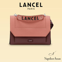 LANCEL Casual Style Studded 2WAY Bi-color Plain Leather Party Style