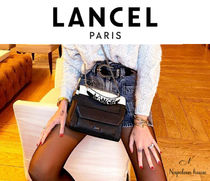 LANCEL Casual Style 2WAY Bi-color Chain Plain Leather Party Style