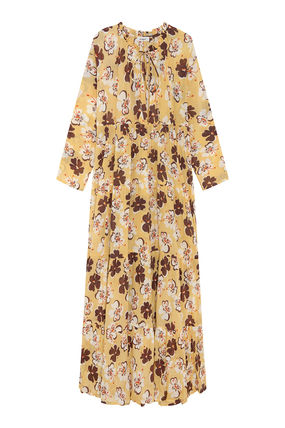 Tropical Patterns Casual Style Maxi Long Sleeves Cotton Long
